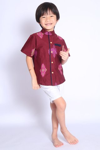 Henrietta Shirt Wine Batik (Boys)